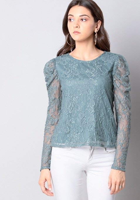 Light Blue 80s Shoulder Lace Top