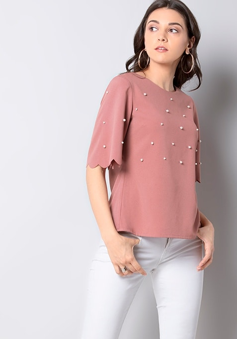 Pink Pearl Embellished Scallop Top
