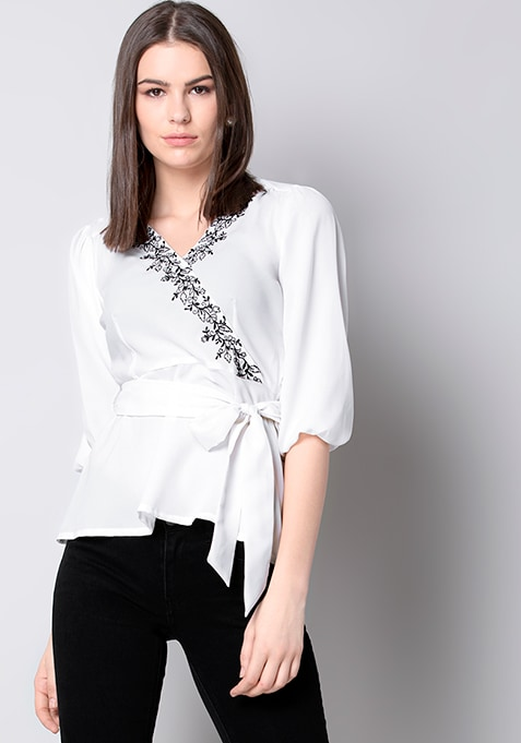 White Embroidered Wrap Top