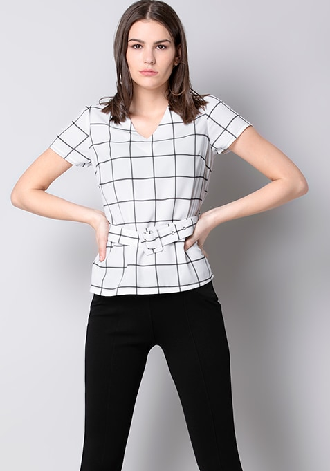White Checked Buckle Belted Top