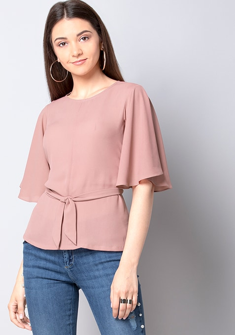Pink Belted Flared Sleeve Top