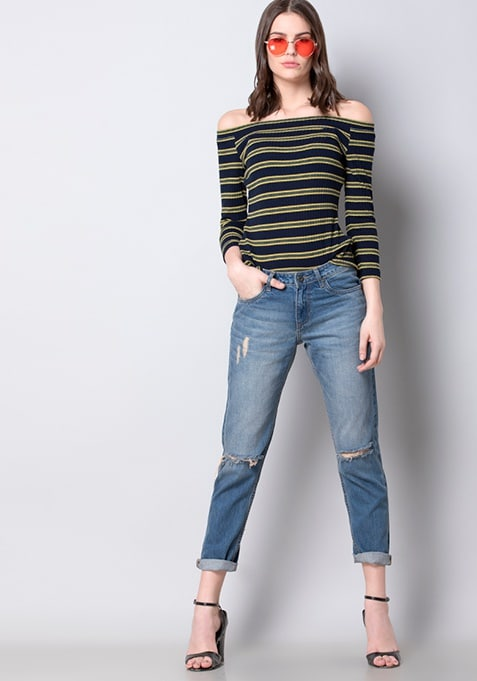 Navy High Neck Ribbed Top
