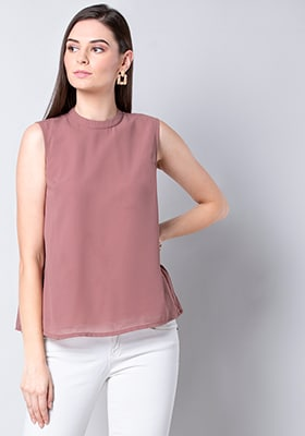 Pink High Neck Pleated Back Top