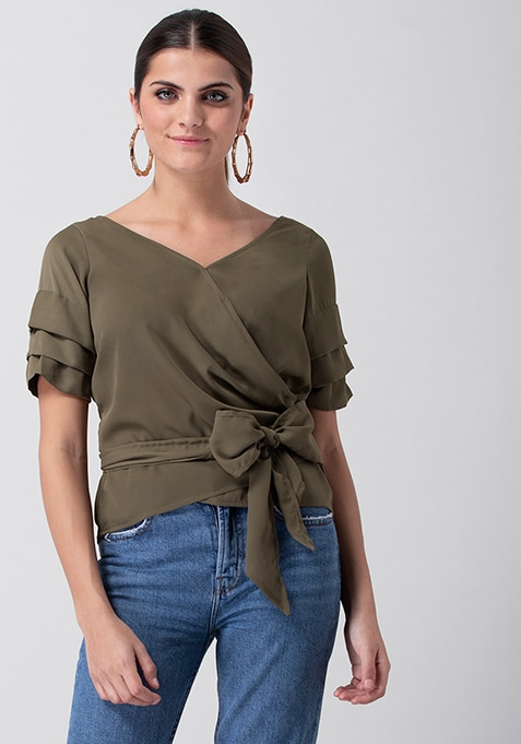 Olive Tiered Sleeve Wrap Top