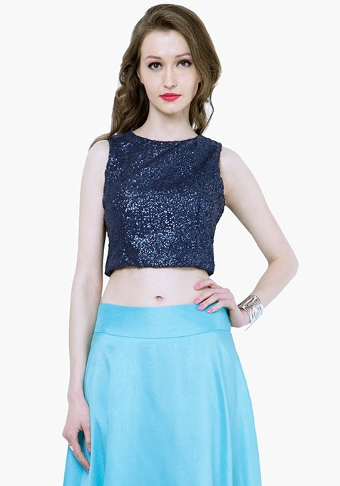 Sequin Crop Top - Navy