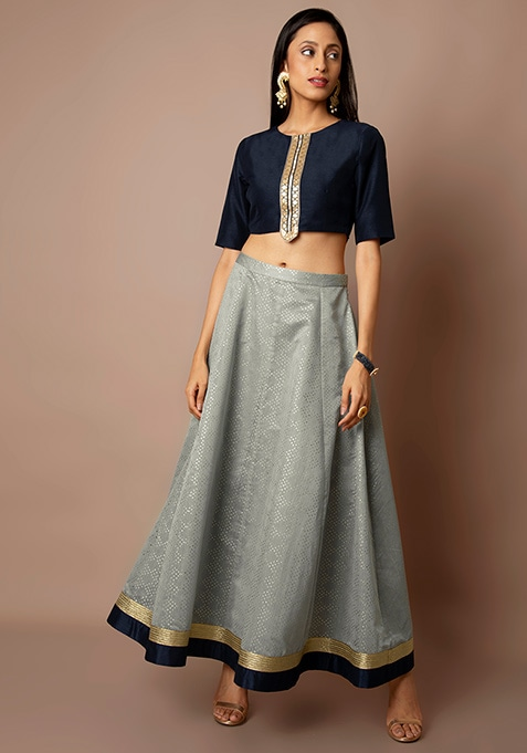 Navy Crop Top and Grey Mukaish Maxi Skirt Set
