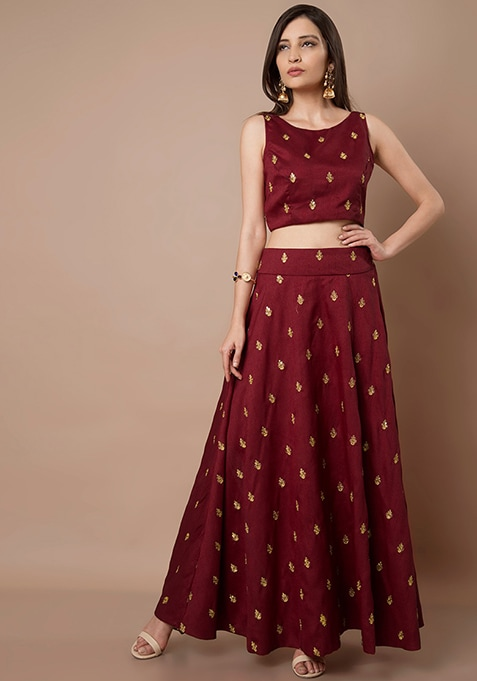 Oxblood Embroidered Crop Top and Maxi Skirt Set