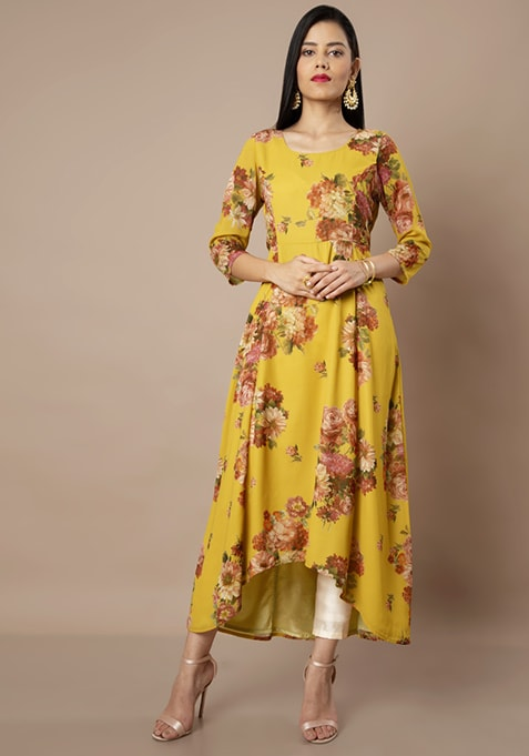 Mustard Floral High-Low Tunic and Ivory Cigarette Pants Set