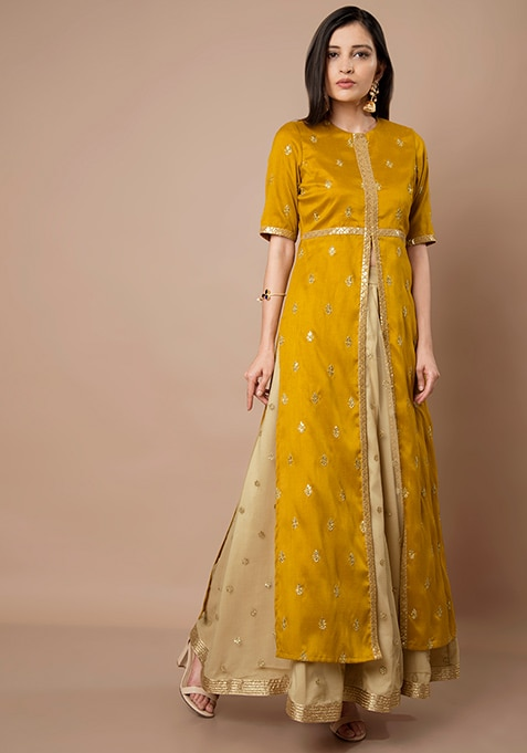 Mustard Embroidered High Slit Maxi Tunic and Beige Sequin Maxi Skirt Set