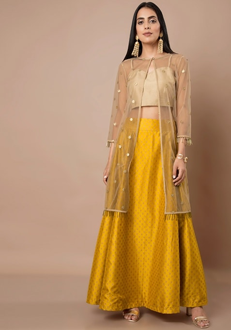Beige Sequin Mesh Jacket With Crop Top and Mustard Brocade Silk Maxi Skirt Set