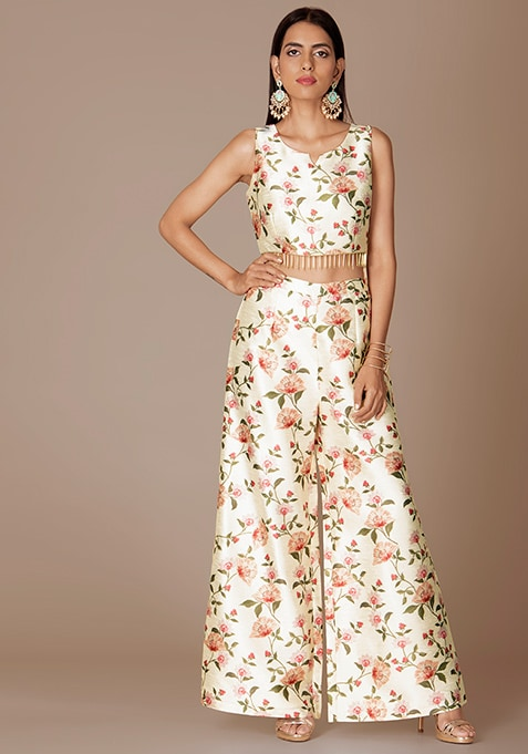 Ivory Floral Print Crop Top and Palazzo Pants Set