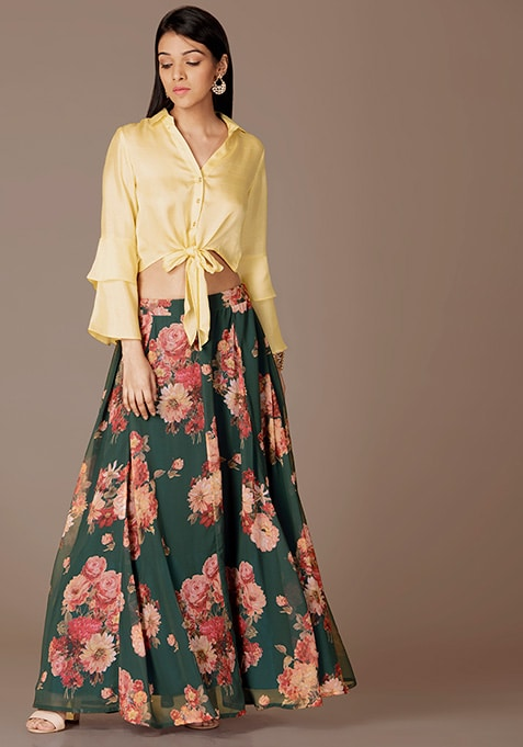 Ivory Satin Knotted Shirt and Floral Skirt Set