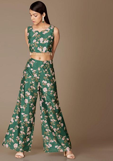 Emerald Floral Crop Top And Palazzo Pants Set