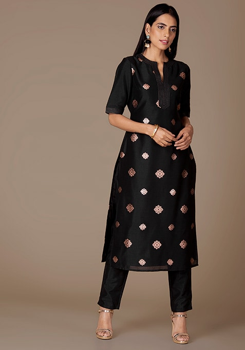 Black Foil Kurta And Cigarette Pants Set